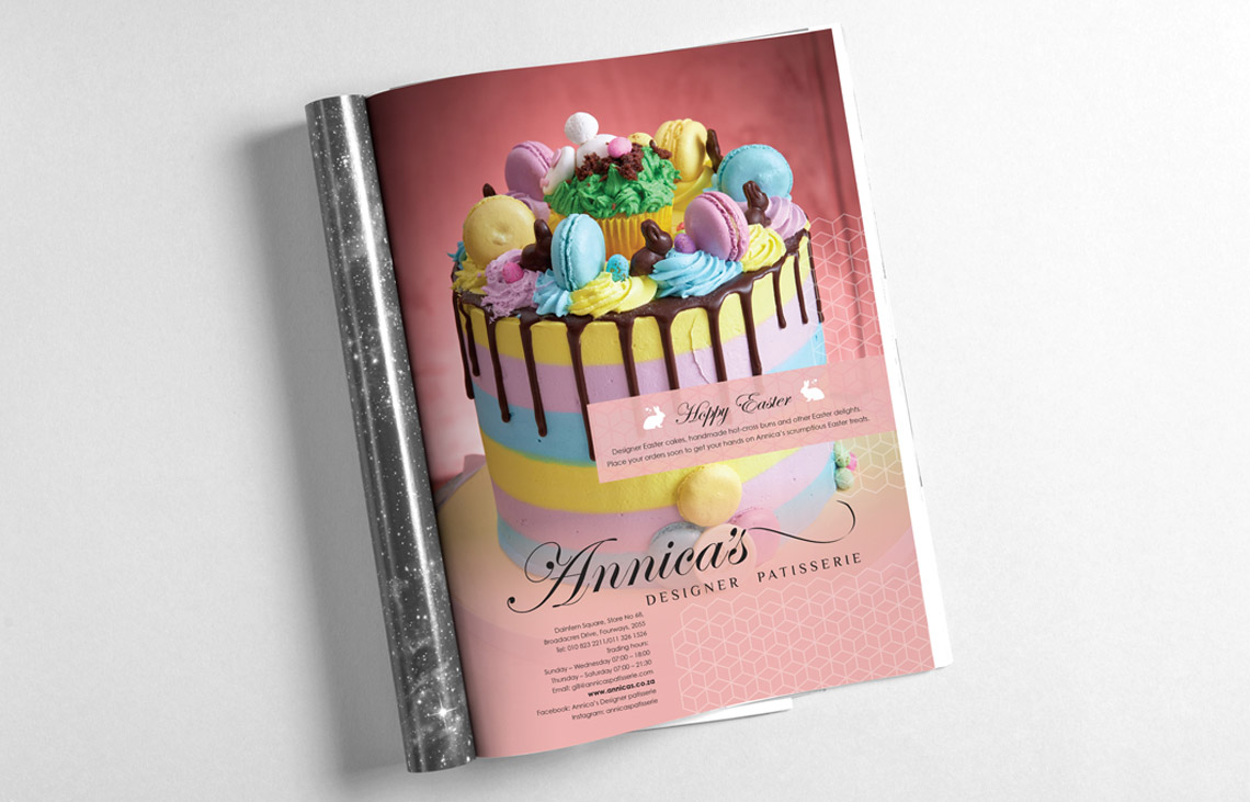 Annicas Patisserie Easter Advertiement  Design by Black Rooster Studios