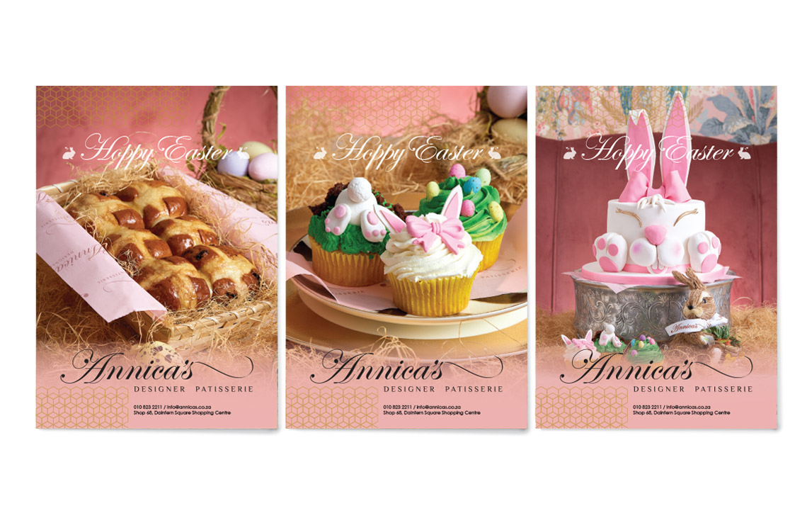 Annicas Patisserie Easter Poster Design by Black Rooster Studios