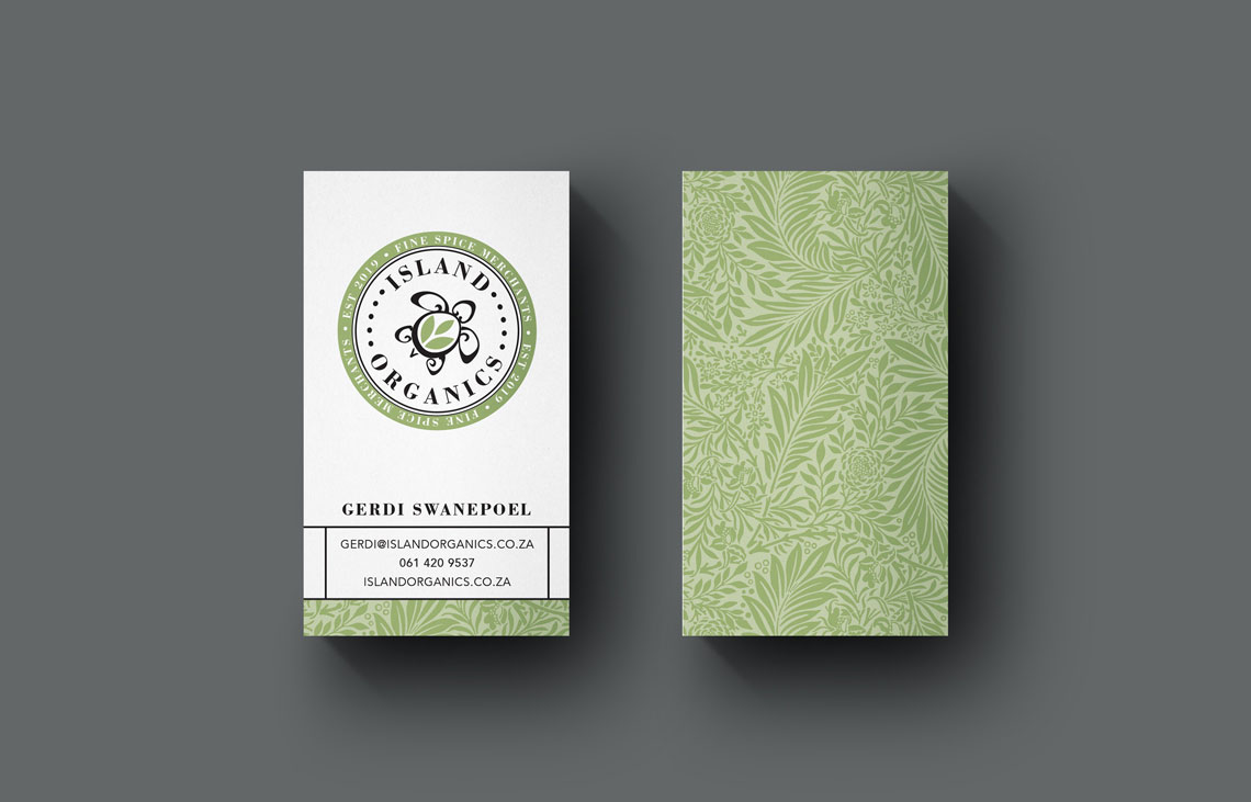 Island Organics Business Card Design by Black Rooster Studios