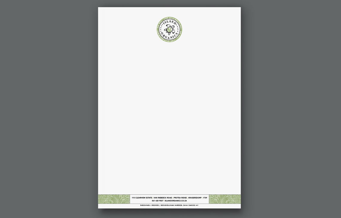 Island Organics Letterhead Design by Black Rooster Studios