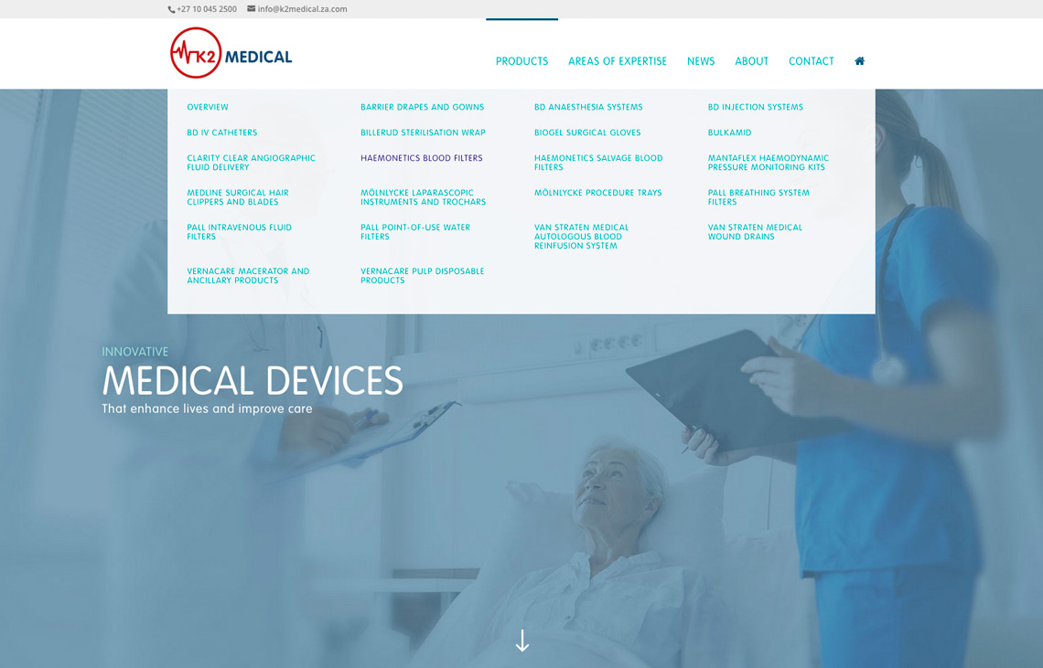 K2 Medical website navigation