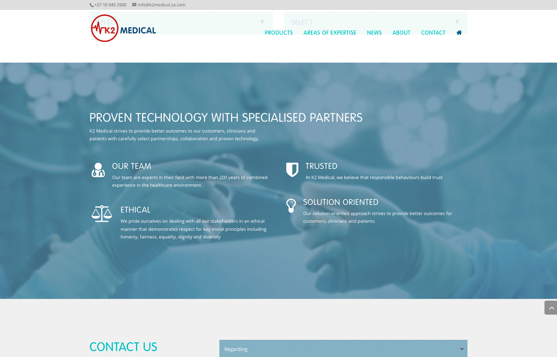 K2 Medical website detail
