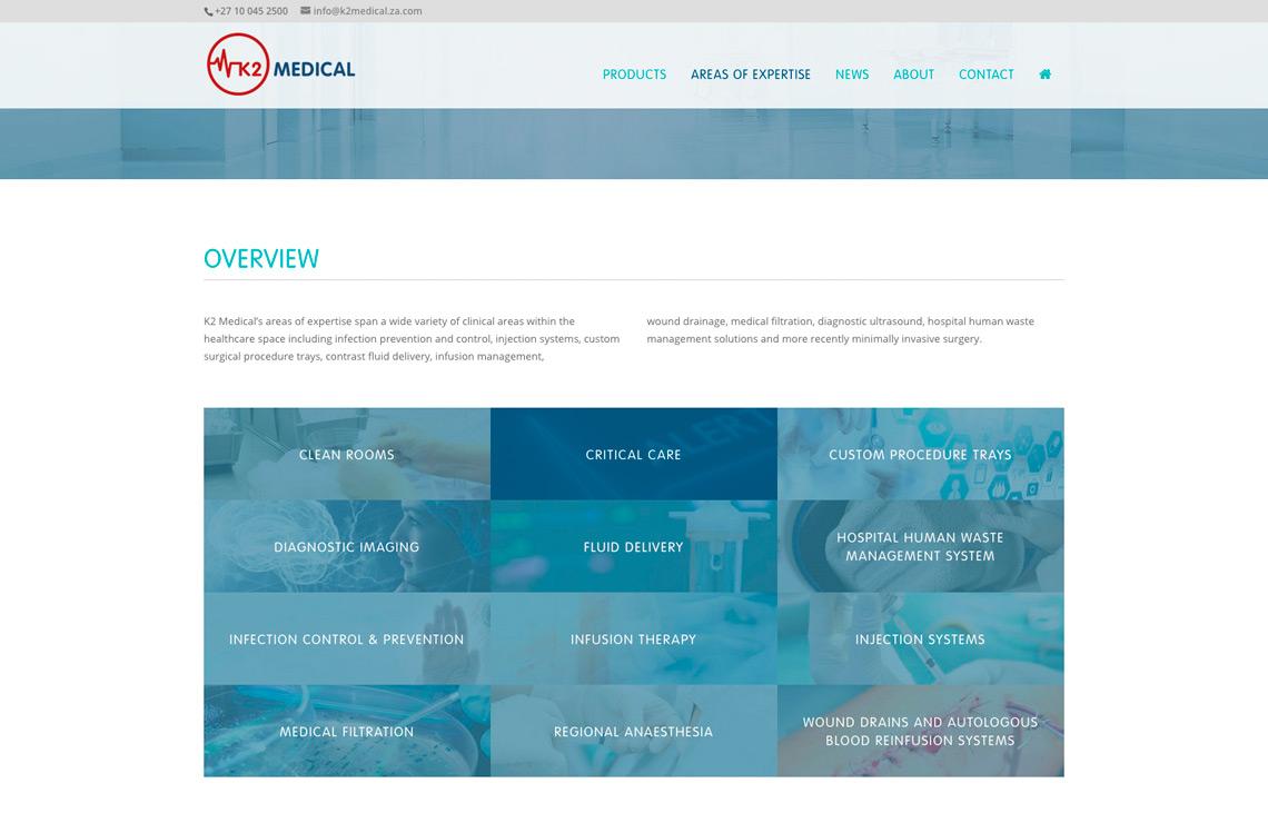 K2 Medical website product grid