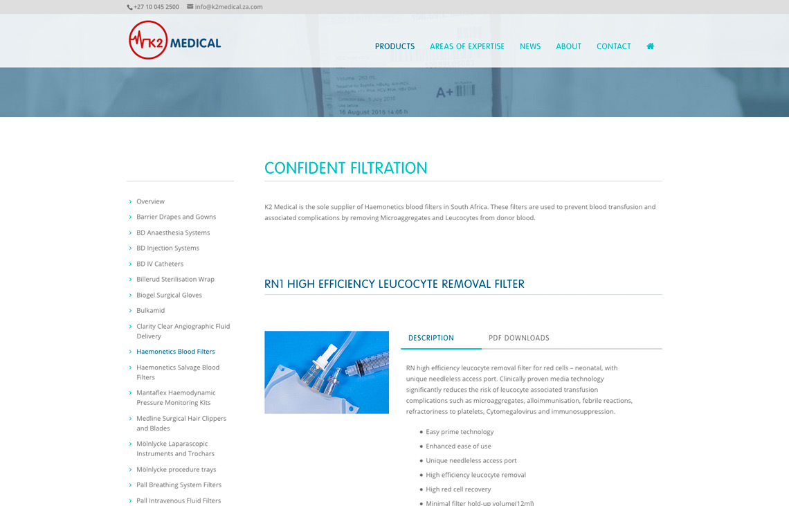 K2 Medical website product page
